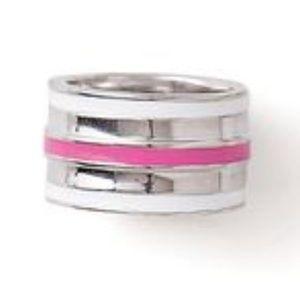 "Lia Sophia ""Fast Track"" Pink/White Silvertone Ring"